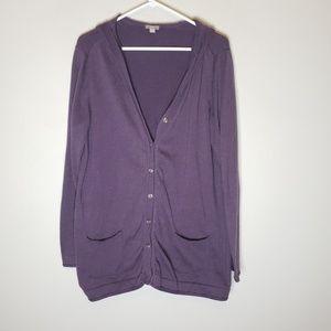 J. Jill Cotton Blend Purple Hooded Cardigan XL
